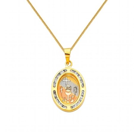 Jewelry 14k Tri-tone Gold Cubic Zirconia First Communion Religious Pendant with 0.8-mm Square Wheat Chain](First Communion Jewelry)