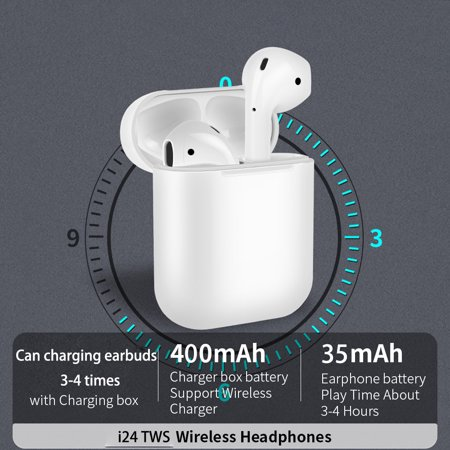 Wireless bluetooth Earbuds  i24tws 5 0 Touch control Earbuds for iPhone and  Android smart Phone (Pop up animation connect for iOS