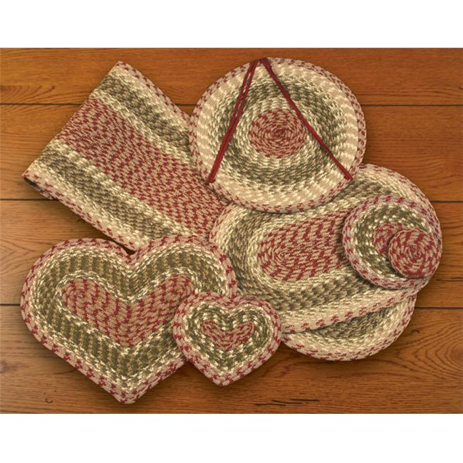 Earth Rugs 60-024 Olive-Burgundy-Gray Heart Placemat