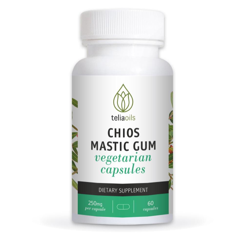 Teliaoils Mastic Gum Capsules - Natural Gut Health Supplement- Potent Greek Mastiha Resin From