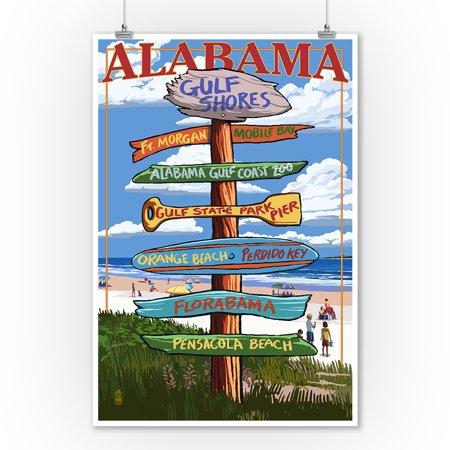 Gulf Shores, Alabama - Destinations Sign - Lantern Press Artwork (9x12 Art Print, Wall Decor Travel Poster) Alabama Art Glass