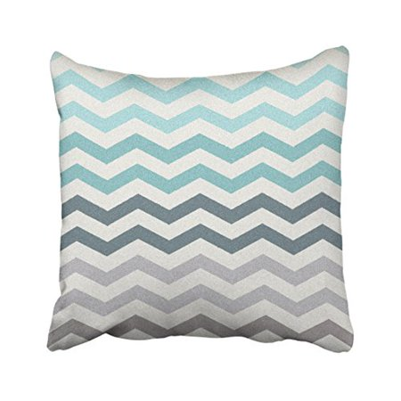 WinHome Decorative Personalized Gradient Wave Tribal Striped Geometric Pillowcase Throw Cushion Pillow Case Cover Turquoise Aqua Grey Beige for Home Sofa Couch Decorations Size 20x20 inches
