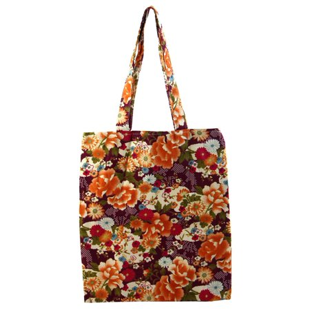 Travel School Cosmetic Books Holder Sundries Storage Flower Print Handbag Single Shoulder Tote Bag Purple