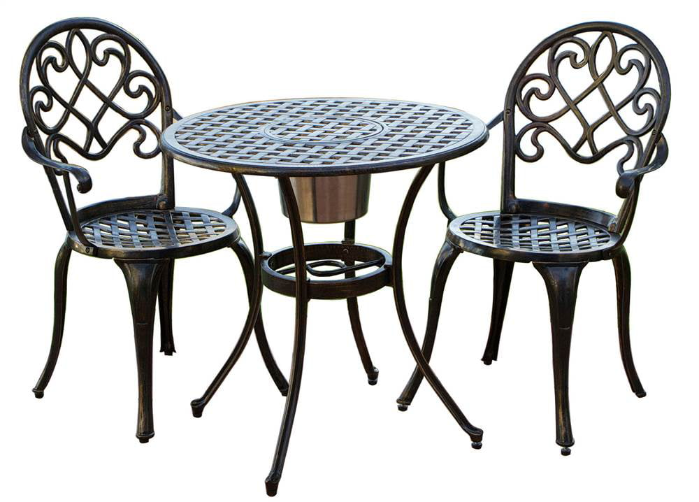 3 pc outdoor bistro furniture set in brown for Small black table and chairs