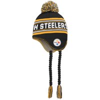 Pittsburgh Steelers Youth Jacquard Tassel Knit Hat with Pom - Black/Gold - OSFA