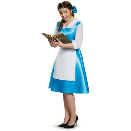 Beauty and the Beast Belle Blue Dress Women's Adult Halloween Costume](Adult Disney Belle Costume)