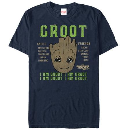 Marvel Men's Guardians of the Galaxy Vol. 2 Groot Skills T-Shirt