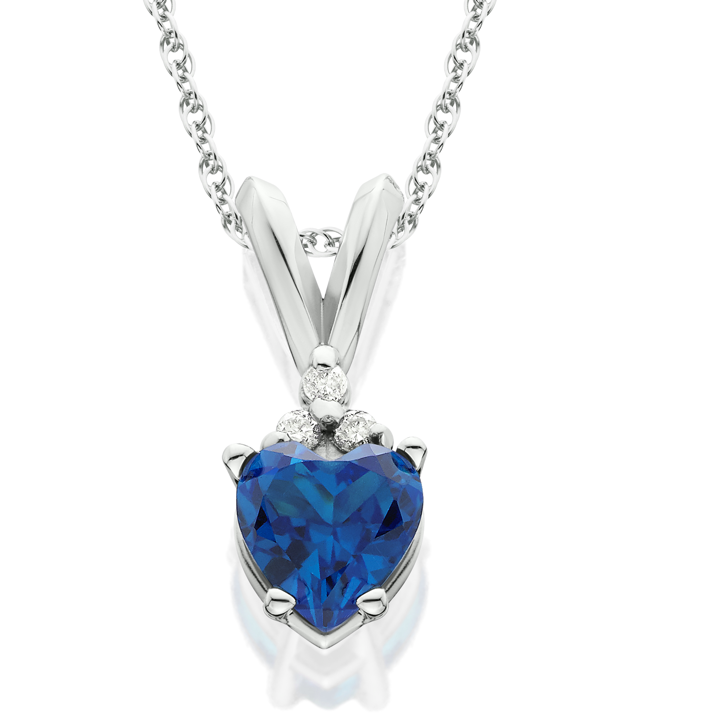 1 2ct Diamond & Simulated Blue Sapphire Heart Pendant 14K White Gold by Pompeii3