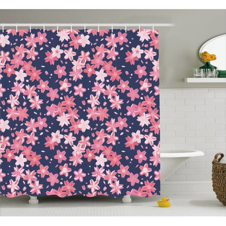 Navy And Blush Shower Curtain Delicate Spring Theme Flourishing Sakura Petals Japanese Garden Fabric Bathroom Set With Hooks Dark Blue Coral Pink