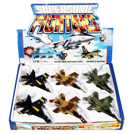 Supersonic Fighter Airplane Diecast Airplane Package - Box of 6 assorted 7.5 Inch Scale Diecast Model Planes