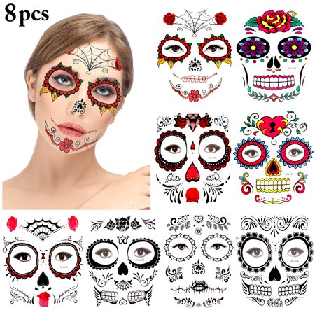 Beauty And The Beast Rose Tattoo (Justdolife 8 Sheets Halloween Face Tattoo Fashion Assorted Tattoo Ttickers Temporary Tattoo Skull Halloween Masquerade for Woman(red)