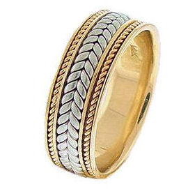 Hand Braided Wedding Band Two-Tone Gold