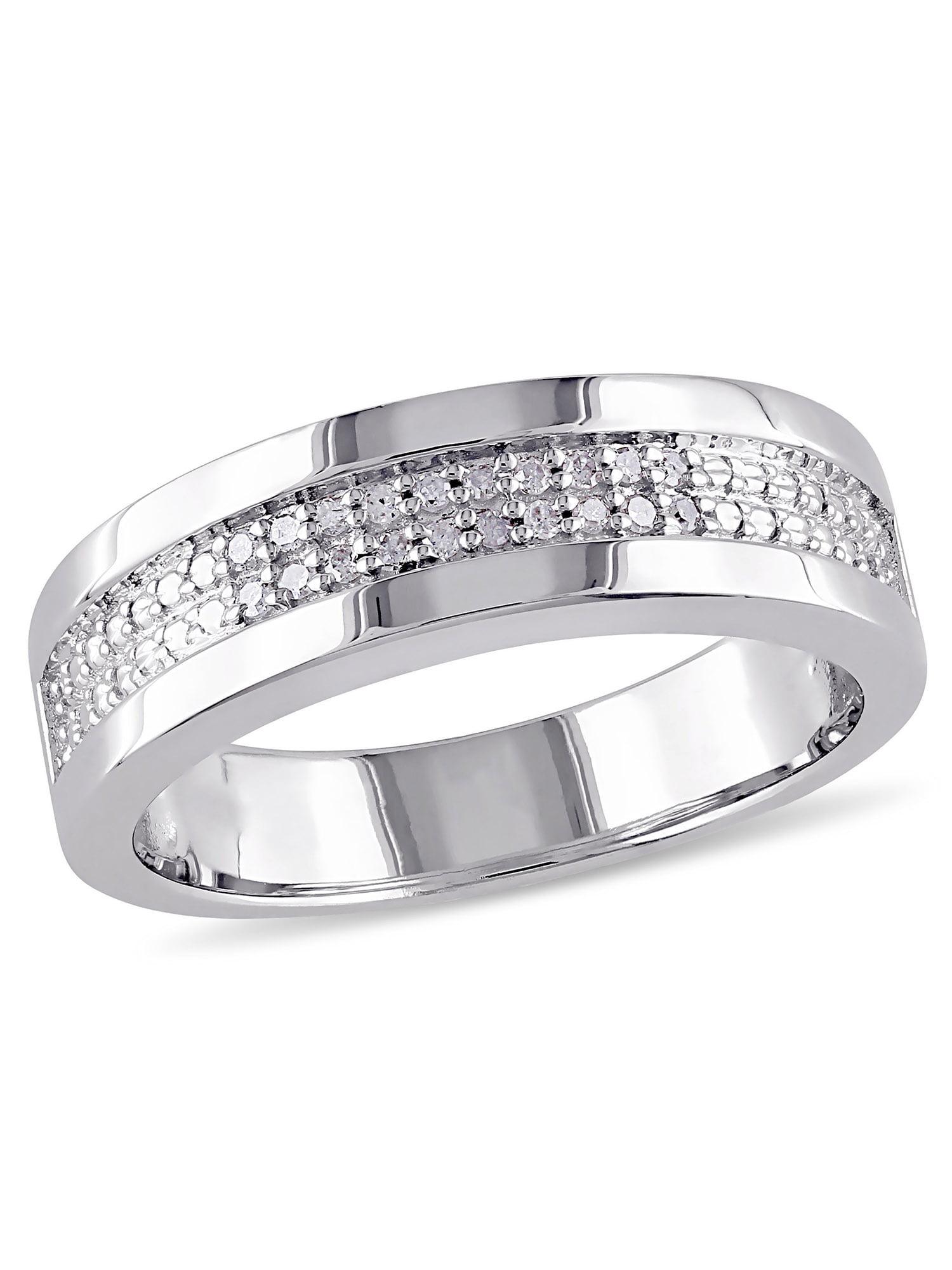 Diamond-Accent Sterling Silver Men's Semi-Eternity Anniversary Ring