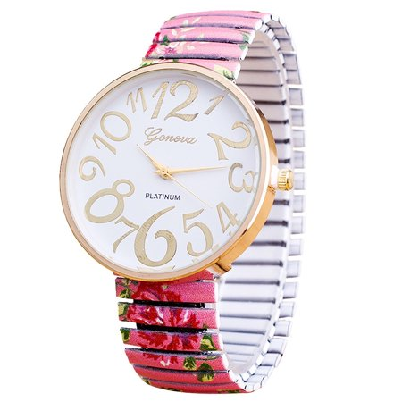 Big Face Easy to Read Numbers Light Pink Stretch Band Flower Rose Design Watch-200-B (Nice Big Face Watches)