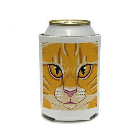 Orange Tabby Cat Face - Pet Kitty Can Cooler Drink Insulator Beverage Insulated (Pet Cooler)