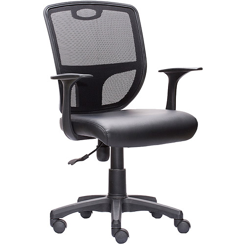 Techni Mobili Mesh Back Task Chair with PU Leather Seat and Arms, Black