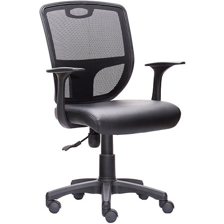 Techni Mobili Mesh Back Task Chair With PU Leather Seat And Arms Black Wal