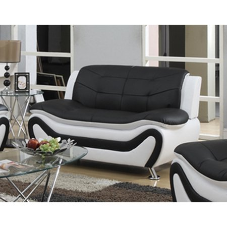 Frady, Faux Leather Modern Loveseat, Black and White