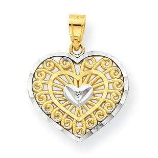 10K Rhodium Plated Yellow Gold & Rhodium Heart Charm - image 2 de 2
