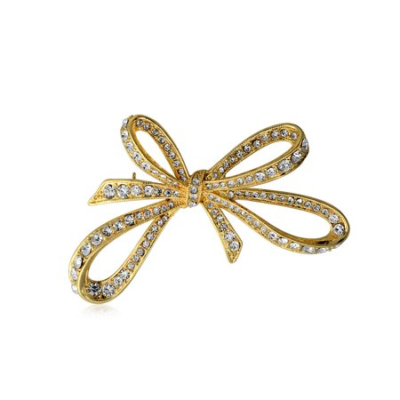 Gold Plated Pave Crystal Ribbon Brooch Large Bow Pin