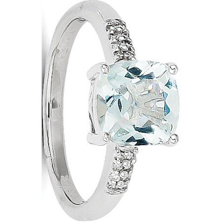 Or blanc 14k Aquamarine et diamants - image 2 de 2
