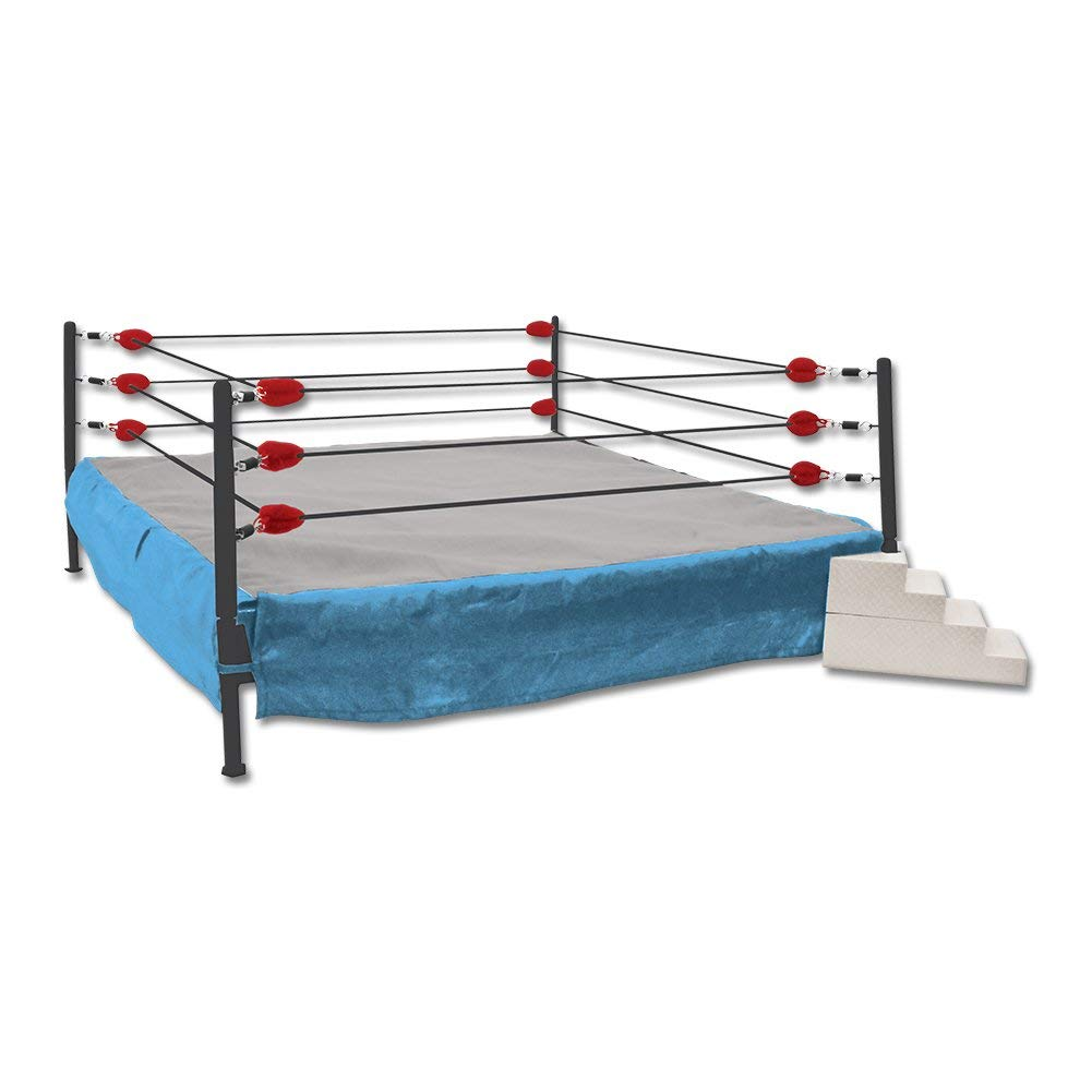 Blue and Red Wrestling Ring for WWE Action Figures