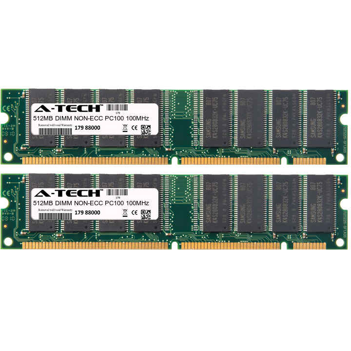1GB Kit 2x 512MB Modules PC100 100MHz NON-ECC SD DIMM Desktop 168-pin Memory Ram