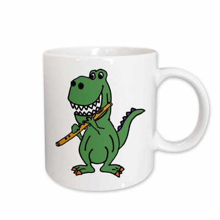 3dRose Cute Funny Green T-rex Dinosaur Playing Flute Cartoon - Ceramic Mug, -