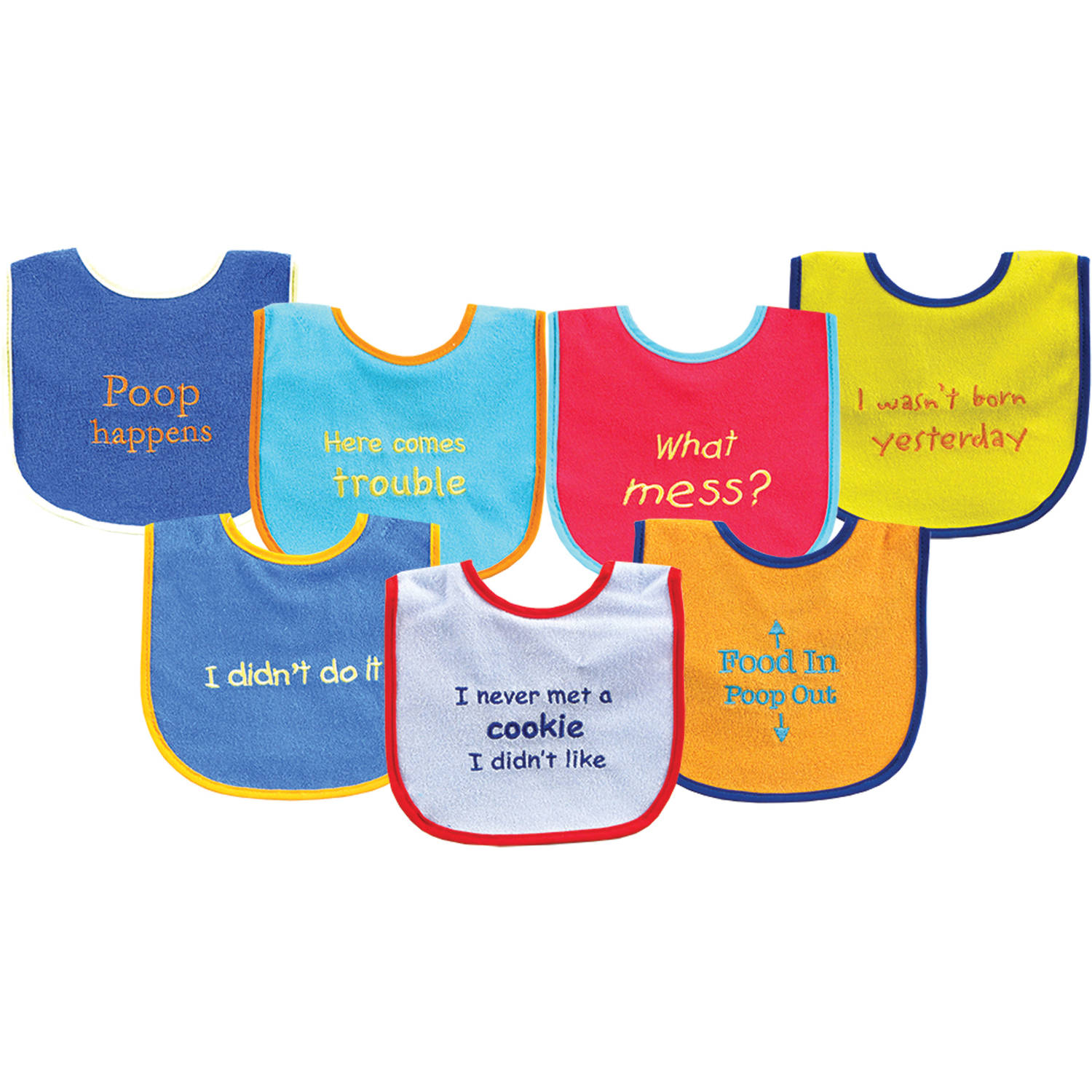 Luvable Friends Bold Sayings Bibs, 7pk, Multiple Colors