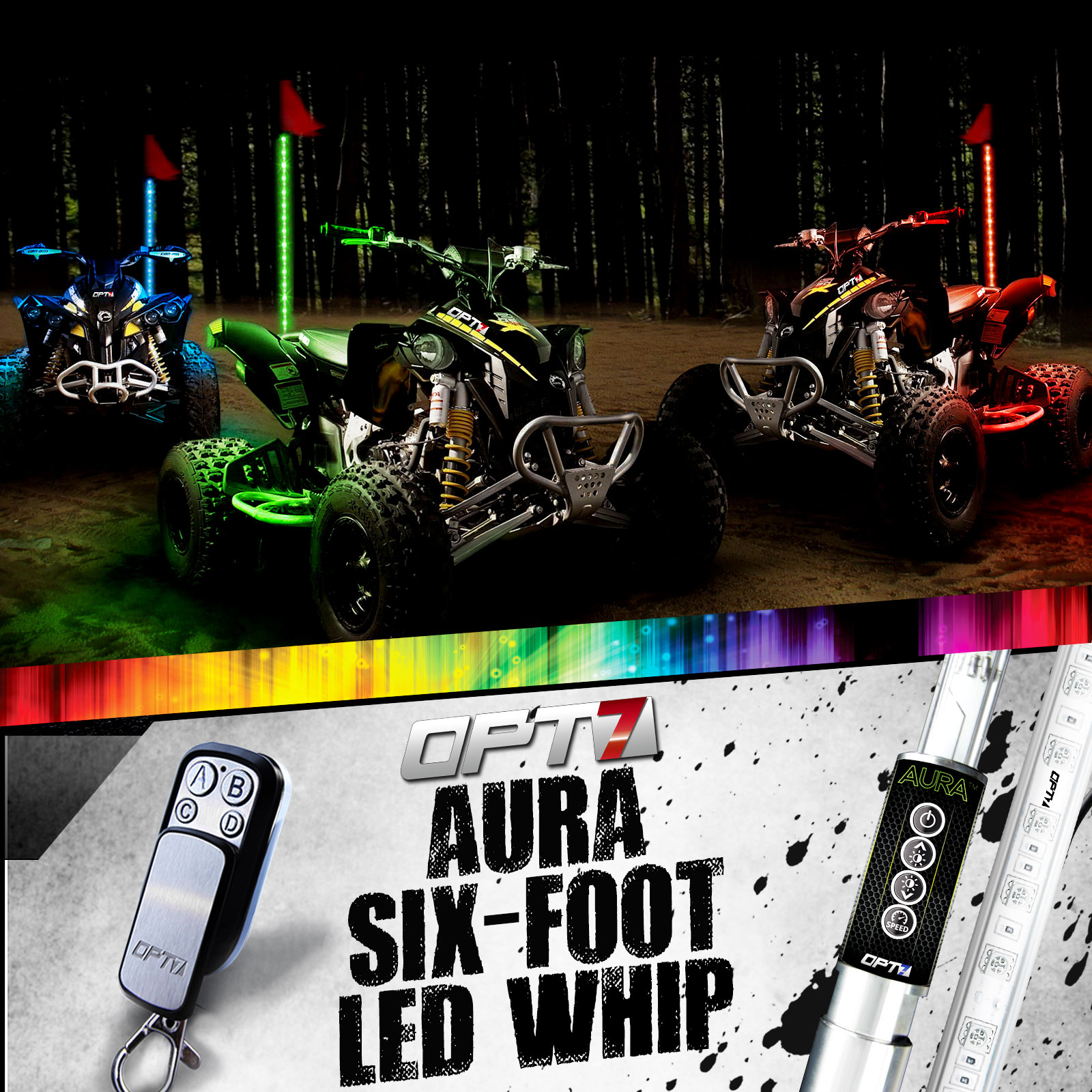 6FT RGB LED  LIGHT WHIP MULTI COLOR W//REMOTE //QUICK RELEASE// FLAG SUMMER SALE!