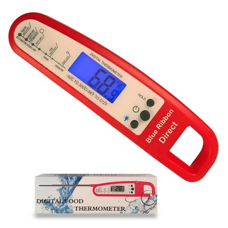 Red Instant Read Thermometer with Backlight for Meat BBQ Cooking  for Food,Kitchen