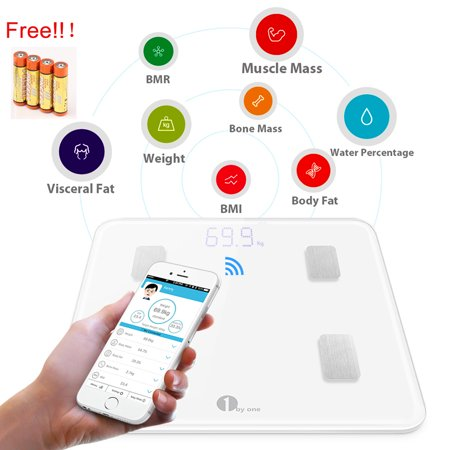1byone Digital Smart Wireless Body Fat Scale Weight scale with IOS and Android App to Manage Body weight, Body Fat, Water, Muscle Mass, BMI, BMR, Bone Mass and Visceral Fat, White with (Best Body Measurement App)
