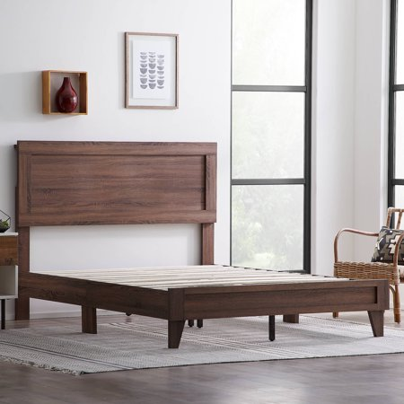 Rest Haven Durable Classic Framed Wood Platform Bed, Queen, Southern Oak Oak Bed Furniture