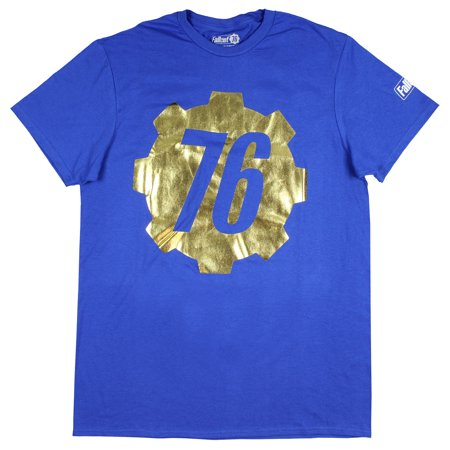 Fallout 76 Shirt Men's Gold Foil Vault 76 Logo T-Shirt