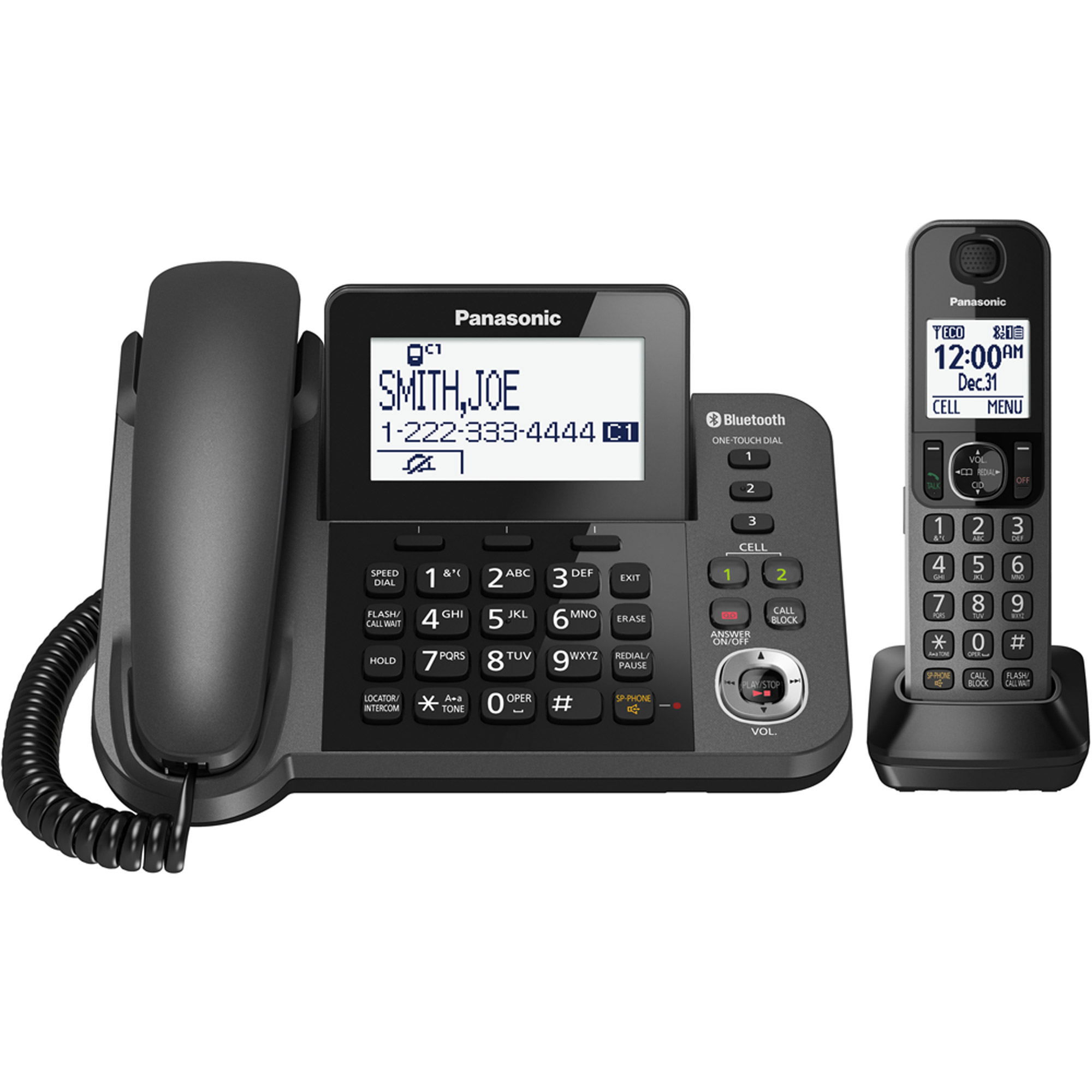 Panasonic Link2Cell Bluetooth Cordless Phone and Answering Machine with 1 Handset