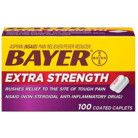 2 Pack - Bayer Extra Strength Aspirin 500 mg, Coated Caplets, 100 ea (Caplet Extra Strength Aspirin)