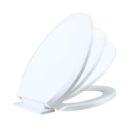 White Slow Close No Slam Plastic Elongated Toilet Seat