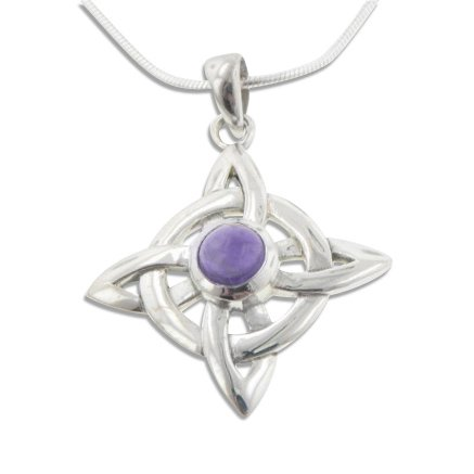 Wheel of Being Celtic Knot Northstar and Genuine Amethyst Sterling Silver Pendant 18