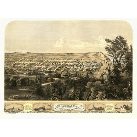 Antique Map of Michigan City Indiana 1869 LaPorte County Canvas Art -  (36 x 54)