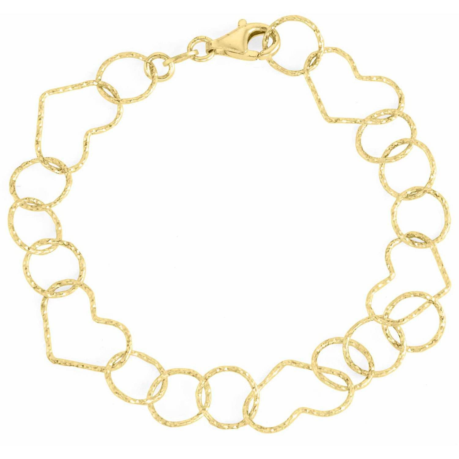 18kt Gold over Sterling Silver Diamond-Cut Open-Heart Link Bracelet, 7.5""