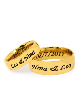 Personalized Stainless Steel Couples Gold Tone Spinner Ring for Her