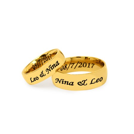 Personalized Stainless Steel Couples Gold Tone Spinner Ring for (Best Couple Ring Design)