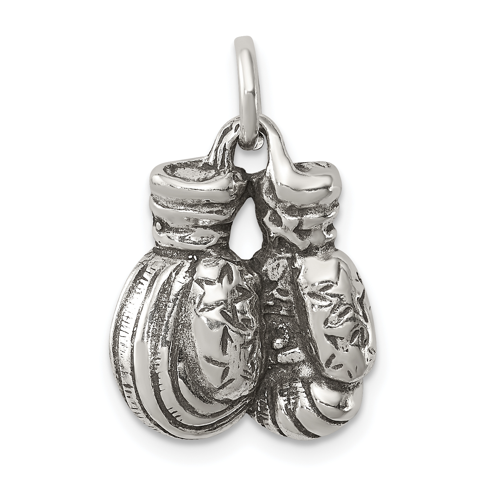 Boxing Glove Pendant Charm 925 Sterling Silver Stamped Chain Necklace