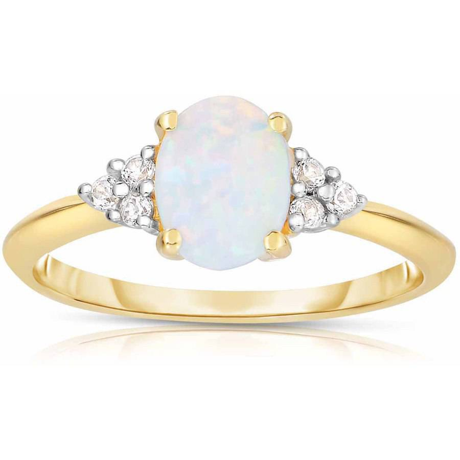 Created Opal White Topaz 10kt Yellow Gold Ring by Tourmaline Rings