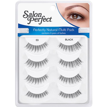Salon perfect natural multi pack eyelashes 53 black 4 pr for Salon 615 lashes