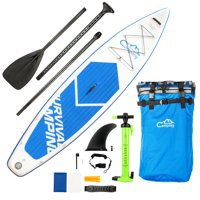 """Campingsurvival 12' Inflatable Stand Up Paddle Board, SUP Surfboard Board, with Adjustable Paddle, Carry Bag, Manual Pump, Repair Kit, Three Pulp, for All Skill Levels, 6"""" Thick"""