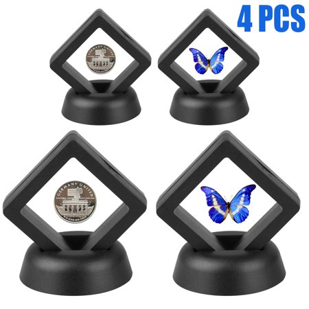 2-pack 3D Floating Display Case Black Diamond Shape Display Stand Holder Suspension Frame for AA Medallion, Challenge Coin, Chip,Jewelry,Pin, 1.96x1.96x0.78 Inches