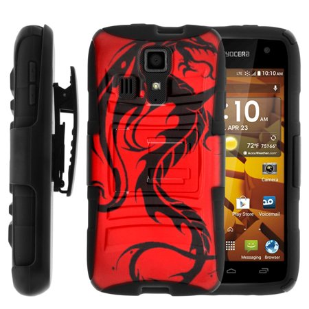 TurtleArmor ® | For Kyocera Hydro Icon | Kyocera Hydro Life [Hyper Shock] Hybrid Dual Layer Armor Holster Belt Clip Case Kickstand - Red - Hydro Belt