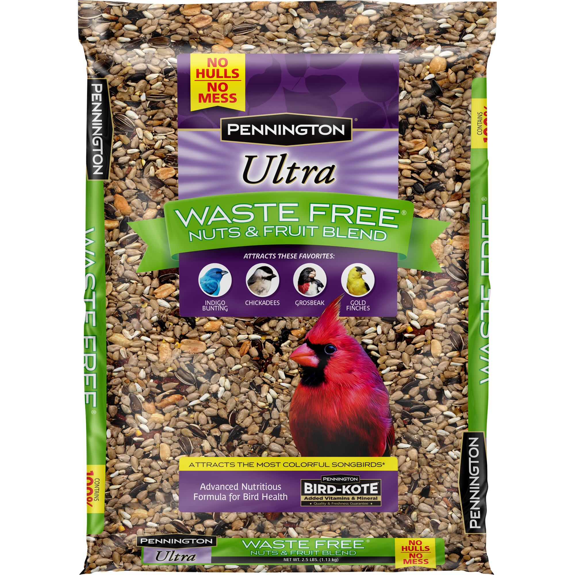 Pennington Bird Feed and Seed Nuts & Fruit Blend Waste Free, 2.5 LB by Central Garden and Pet