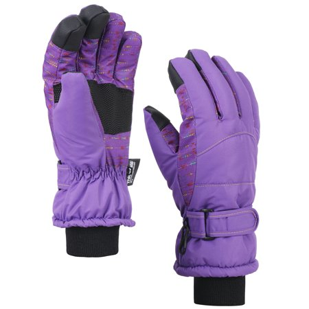 Ski Liner (Women's Thinsulate Lining Touchscreen Snow Ski Gloves, Purple, Large )